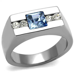 TK2307 - High polished (no plating) Stainless Steel Ring with Top Grade Crystal  in Aquamarine
