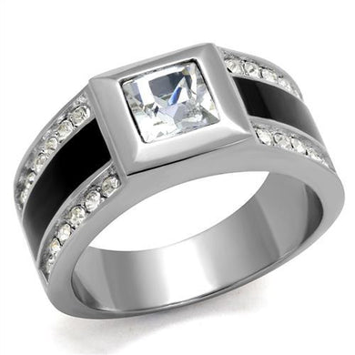 TK2308 - High polished (no plating) Stainless Steel Ring with Top Grade Crystal  in Clear