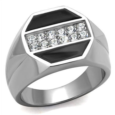 TK2309 - High polished (no plating) Stainless Steel Ring with Top Grade Crystal  in Clear