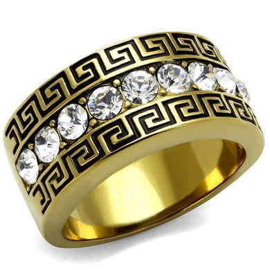 TK2310 - IP Gold(Ion Plating) Stainless Steel Ring with Top Grade Crystal  in Clear