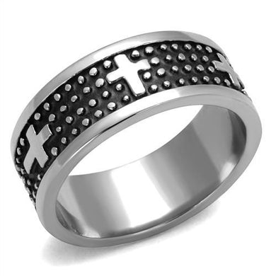TK2321 High polished (no plating) Stainless Steel Ring with Epoxy in Jet
