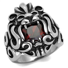 Load image into Gallery viewer, TK2339 - High polished (no plating) Stainless Steel Ring with AAA Grade CZ  in Garnet
