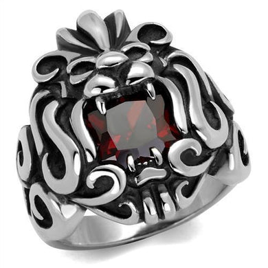 TK2339 - High polished (no plating) Stainless Steel Ring with AAA Grade CZ  in Garnet