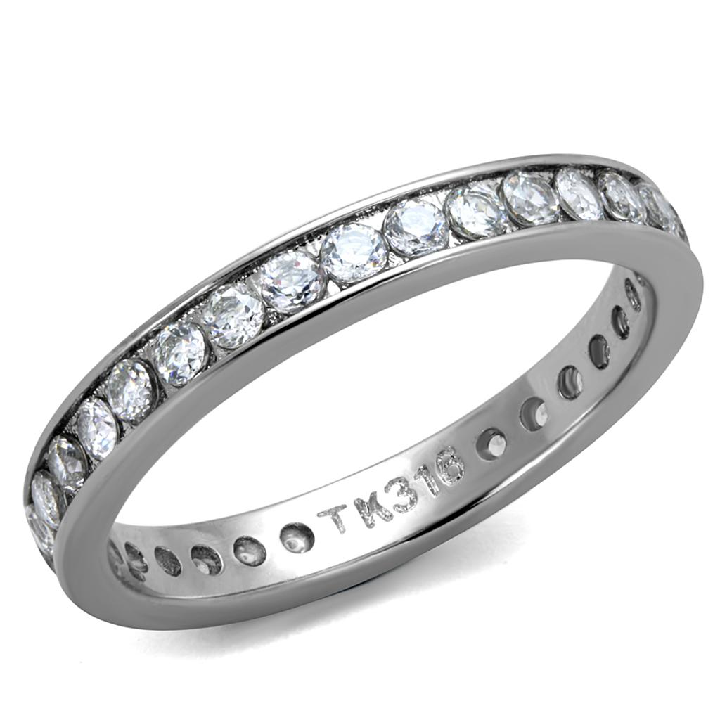 TK2343 - High polished (no plating) Stainless Steel Ring with AAA Grade CZ  in Clear