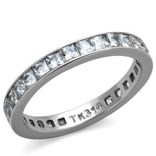 Load image into Gallery viewer, TK2344 - High polished (no plating) Stainless Steel Ring with AAA Grade CZ  in Clear