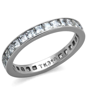 TK2344 - High polished (no plating) Stainless Steel Ring with AAA Grade CZ  in Clear