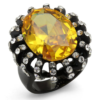 TK2346 - IP Black(Ion Plating) Stainless Steel Ring with AAA Grade CZ  in Topaz