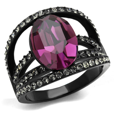 TK2348 - IP Black(Ion Plating) Stainless Steel Ring with Top Grade Crystal  in Amethyst