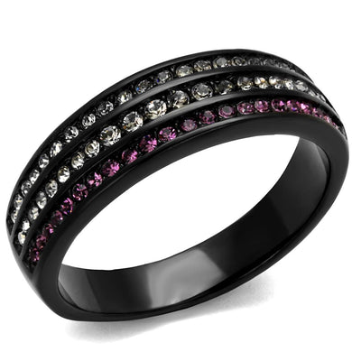 TK2366 - IP Black(Ion Plating) Stainless Steel Ring with Top Grade Crystal  in Amethyst