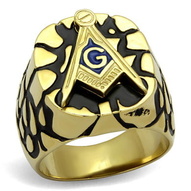 TK2372 - IP Gold(Ion Plating) Stainless Steel Ring with Epoxy  in Capri Blue