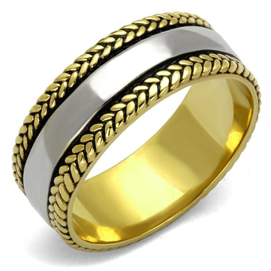 TK2375 - Two-Tone IP Gold (Ion Plating) Stainless Steel Ring with Epoxy  in Jet