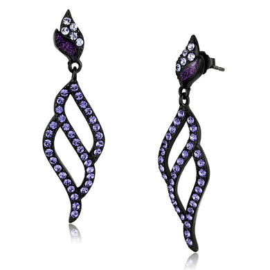 TK2379 - IP Black(Ion Plating) Stainless Steel Earrings with Top Grade Crystal  in Tanzanite