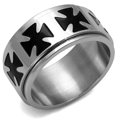 TK2391 - High polished (no plating) Stainless Steel Ring with Epoxy  in Jet