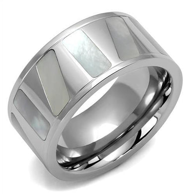 TK2401 - High polished (no plating) Stainless Steel Ring with Precious Stone Conch in White