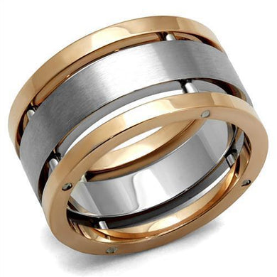TK2402 - Two-Tone IP Rose Gold Stainless Steel Ring with No Stone