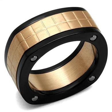 TK2406 - Three Tone IP(IP Rose Gold & IP Black & High Polished) Stainless Steel Ring with No Stone