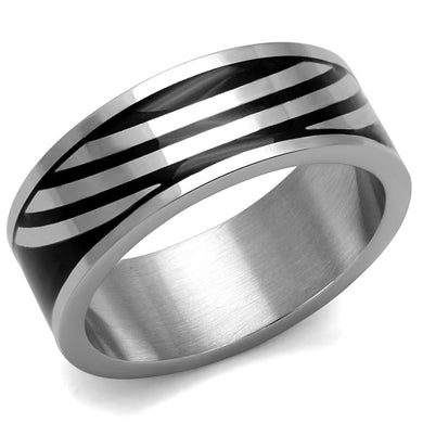 TK2411 - High polished (no plating) Stainless Steel Ring with Epoxy  in Jet