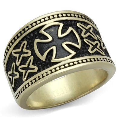 TK2469 - IP Antique Copper Stainless Steel Ring with Epoxy  in Jet