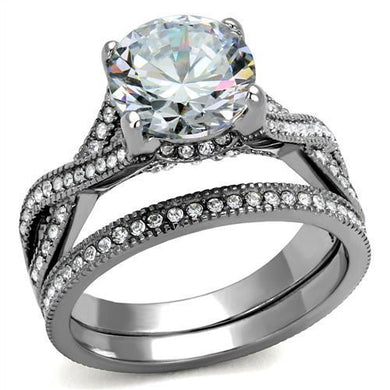 TK2478 - High polished (no plating) Stainless Steel Ring with AAA Grade CZ  in Clear