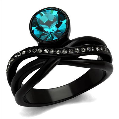TK2488 - IP Black(Ion Plating) Stainless Steel Ring with Top Grade Crystal  in Blue Zircon