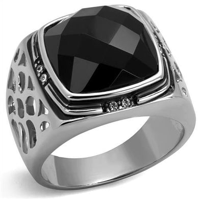 TK2514 - High polished (no plating) Stainless Steel Ring with Synthetic Onyx in Jet