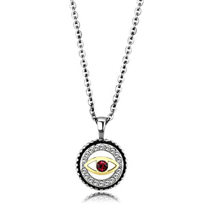 TK2527 - Two-Tone IP Gold (Ion Plating) Stainless Steel Chain Pendant with Top Grade Crystal  in Garnet