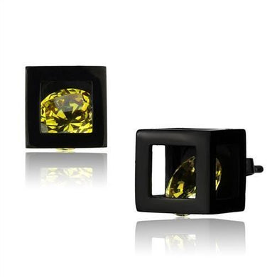 TK2540 - IP Black(Ion Plating) Stainless Steel Earrings with AAA Grade CZ  in Topaz