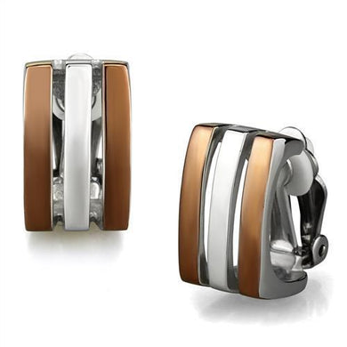 TK2542 - Two Tone IP Light Brown (IP Light coffee) Stainless Steel Earrings with No Stone