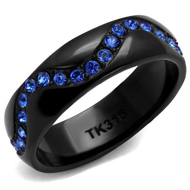 TK2550 - IP Black(Ion Plating) Stainless Steel Ring with Top Grade Crystal  in Sapphire