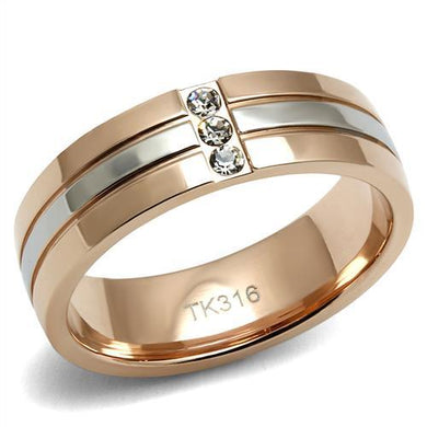TK2570 - Two-Tone IP Rose Gold Stainless Steel Ring with Top Grade Crystal  in Clear