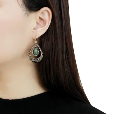 TK2576 - IP Gold(Ion Plating) Stainless Steel Earrings with Semi-Precious Jade in Emerald