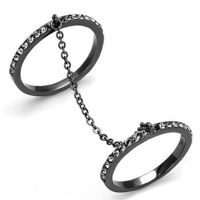 TK2614 - IP Light Black  (IP Gun) Stainless Steel Ring with Top Grade Crystal  in Jet