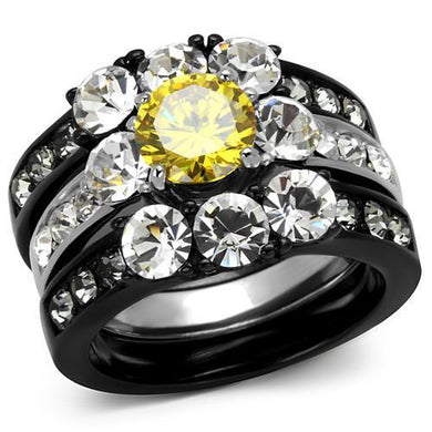 TK2615 - Two-Tone IP Black (Ion Plating) Stainless Steel Ring with AAA Grade CZ  in Topaz