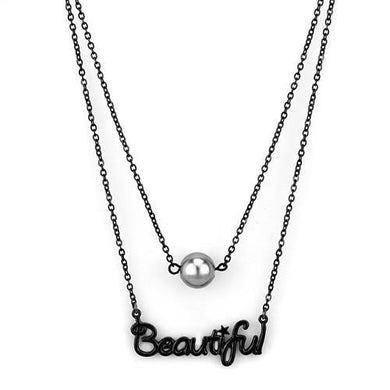 TK2628 - IP Black(Ion Plating) Stainless Steel Necklace with Synthetic Glass Bead in Gray