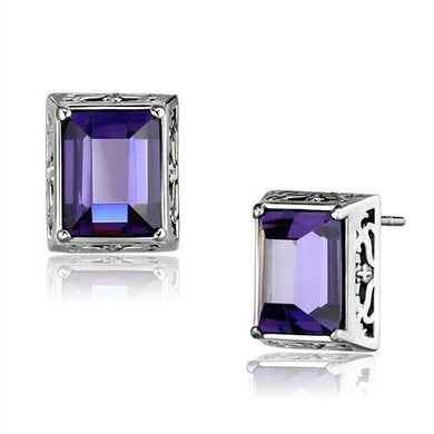 TK2636 - High polished (no plating) Stainless Steel Earrings with AAA Grade CZ  in Amethyst
