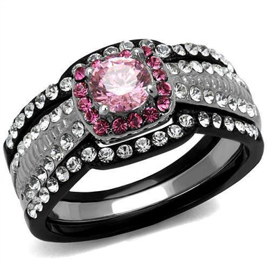 TK2651 - Two-Tone IP Black (Ion Plating) Stainless Steel Ring with AAA Grade CZ  in Light Rose