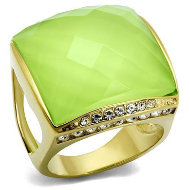 TK2661 - IP Gold(Ion Plating) Stainless Steel Ring with Synthetic Synthetic Stone in Apple Green color