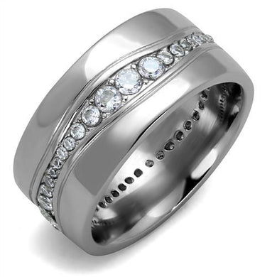 TK2667 - High polished (no plating) Stainless Steel Ring with AAA Grade CZ  in Clear