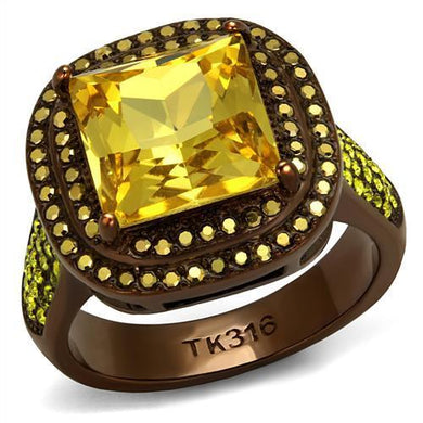TK2677 - IP Coffee light Stainless Steel Ring with AAA Grade CZ  in Topaz