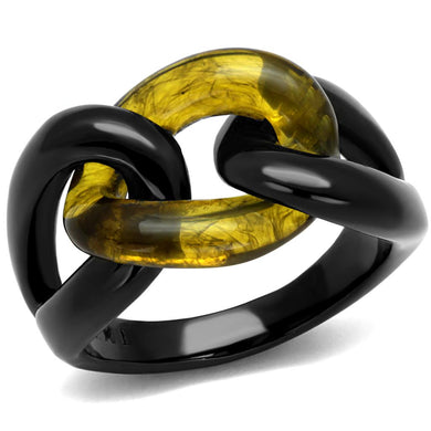 TK2682 - IP Black(Ion Plating) Stainless Steel Ring with Synthetic Synthetic Stone in Topaz