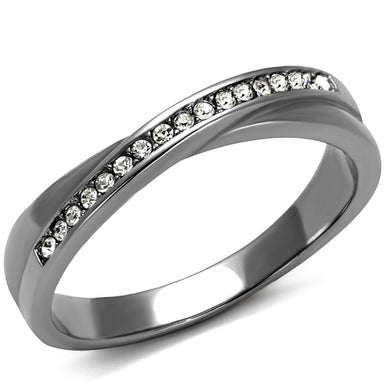 TK2684 - High polished (no plating) Stainless Steel Ring with Top Grade Crystal  in Clear