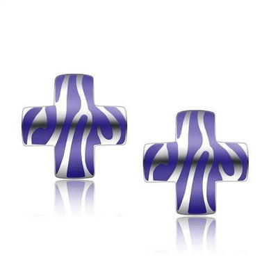 TK272 - High polished (no plating) Stainless Steel Earrings with No Stone
