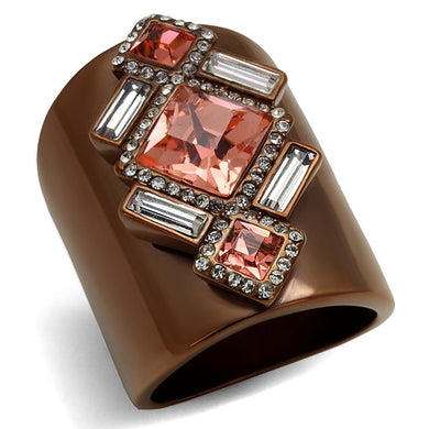 TK2735 - IP Coffee light Stainless Steel Ring with Top Grade Crystal  in Rose