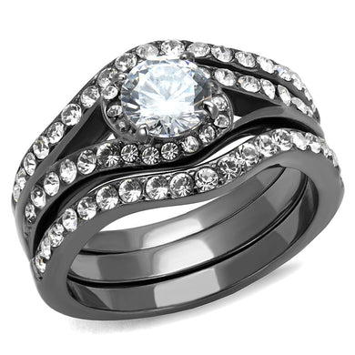 TK2739 - IP Light Black  (IP Gun) Stainless Steel Ring with AAA Grade CZ  in Clear