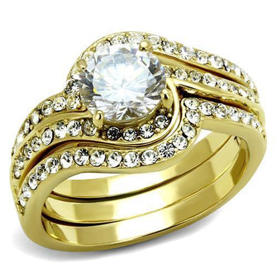 TK2742 - IP Gold(Ion Plating) Stainless Steel Ring with AAA Grade CZ  in Clear