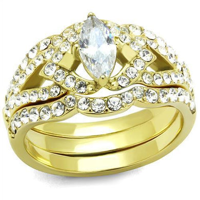 TK2743 - IP Gold(Ion Plating) Stainless Steel Ring with AAA Grade CZ  in Clear