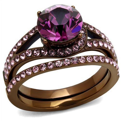 TK2745 - IP Coffee light Stainless Steel Ring with Top Grade Crystal  in Amethyst