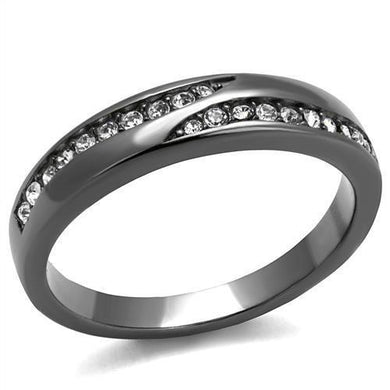 TK2751 - IP Light Black  (IP Gun) Stainless Steel Ring with Top Grade Crystal  in Clear