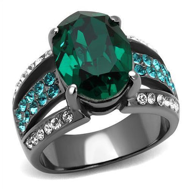 TK2759 - IP Light Black  (IP Gun) Stainless Steel Ring with Top Grade Crystal  in Emerald