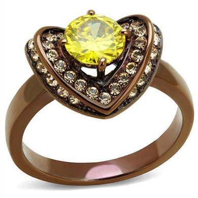 TK2762 - IP Coffee light Stainless Steel Ring with AAA Grade CZ  in Topaz
